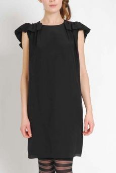 AW1112 CREPE DE CHINE BAT DRESS - BLACK